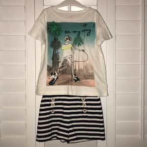 Jcrew Crewcuts ivory tee & French style shorts